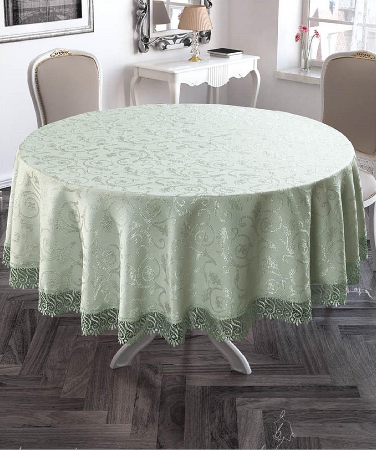 Скатерть Karna KDK, круглая, 3147/CHAR005, светло-зеленый, диаметр 160 см