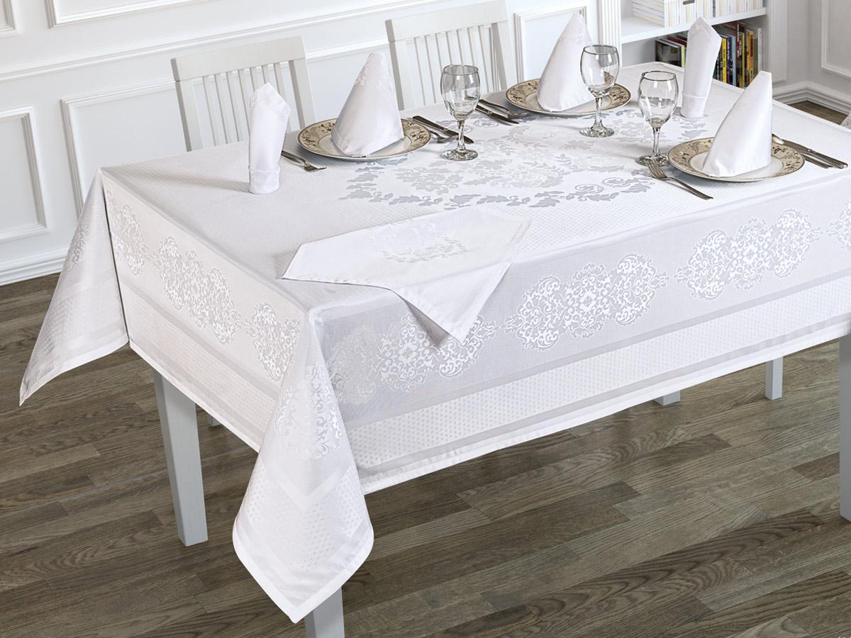 Комплект Karna Скатерть прямоугольная, 160 х 300 см + Салфетки Caramel, 35 см, 8 шт, 3216/CHAR002, белый