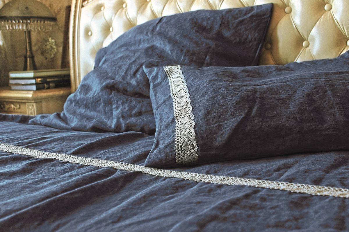 Комплект постельного белья Василиса Органика Премиум, 179691, темно-синий, 2-спальный, наволочки 70x70, 50x70