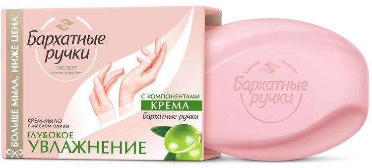 Бархатные Ручки Крем-мыло Глубокое увлажнение с маслом оливы, 90 г