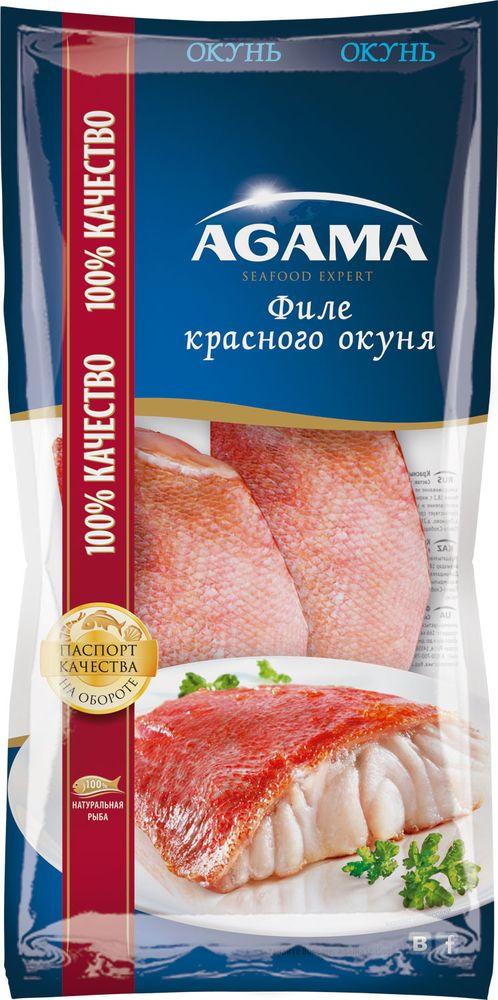Красный окунь Agama, филе свежемороженое, 400 г agama семга слабосоленая филе с кожей замороженное 200 г