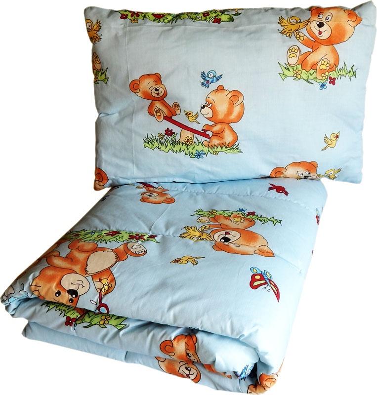 Фото - Комплект одеяло и подушки ПАПИТТО Набор одеяло + подушка 1111, голубой 2 подушки и одеяло 400 г м²