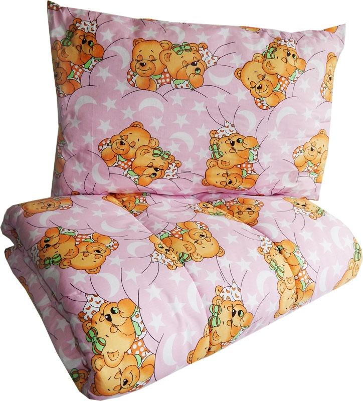 Набор одеяло 110х140 + подушка 40х60 Розовый 1111 подушка аскона sleep professor miracle s 40х60 белый