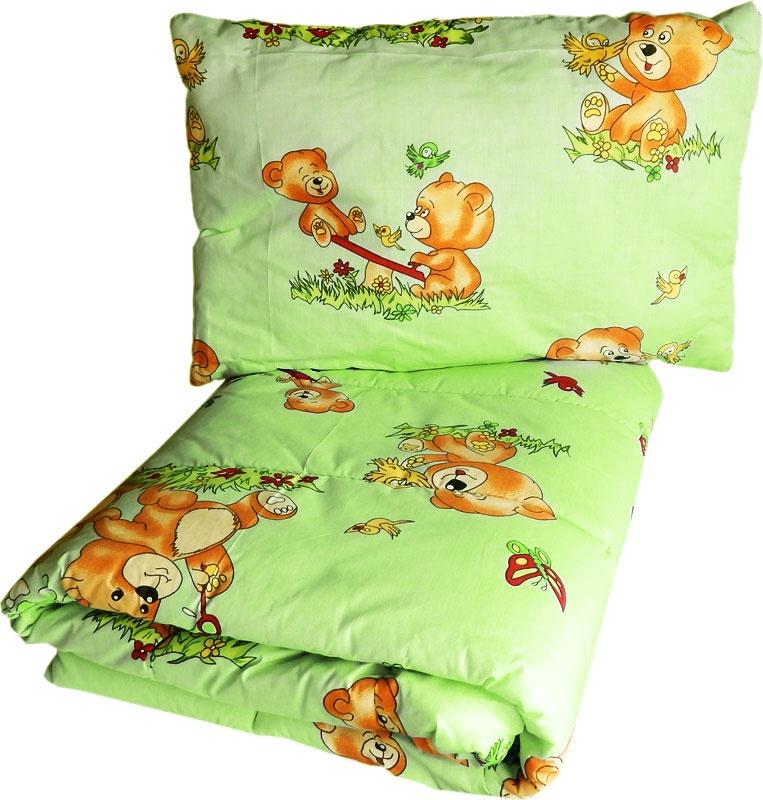Фото - Комплект одеяло и подушки 1111_салатовый, салатовый 2 подушки и одеяло 400 г м²