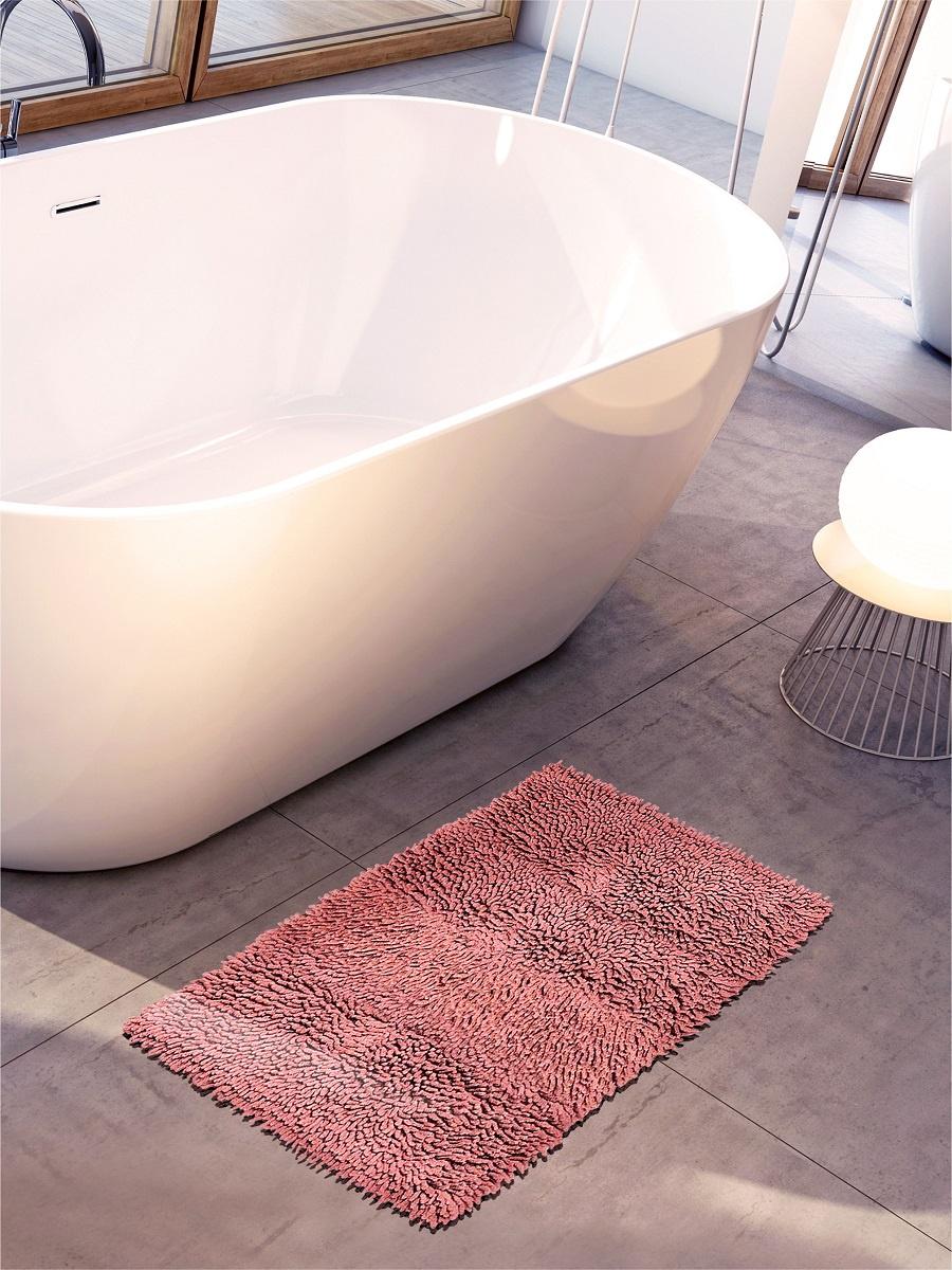 Коврик для ванной DeНАСТИЯ для ванной длинноворсовый, 60*100 см, темно-розовый