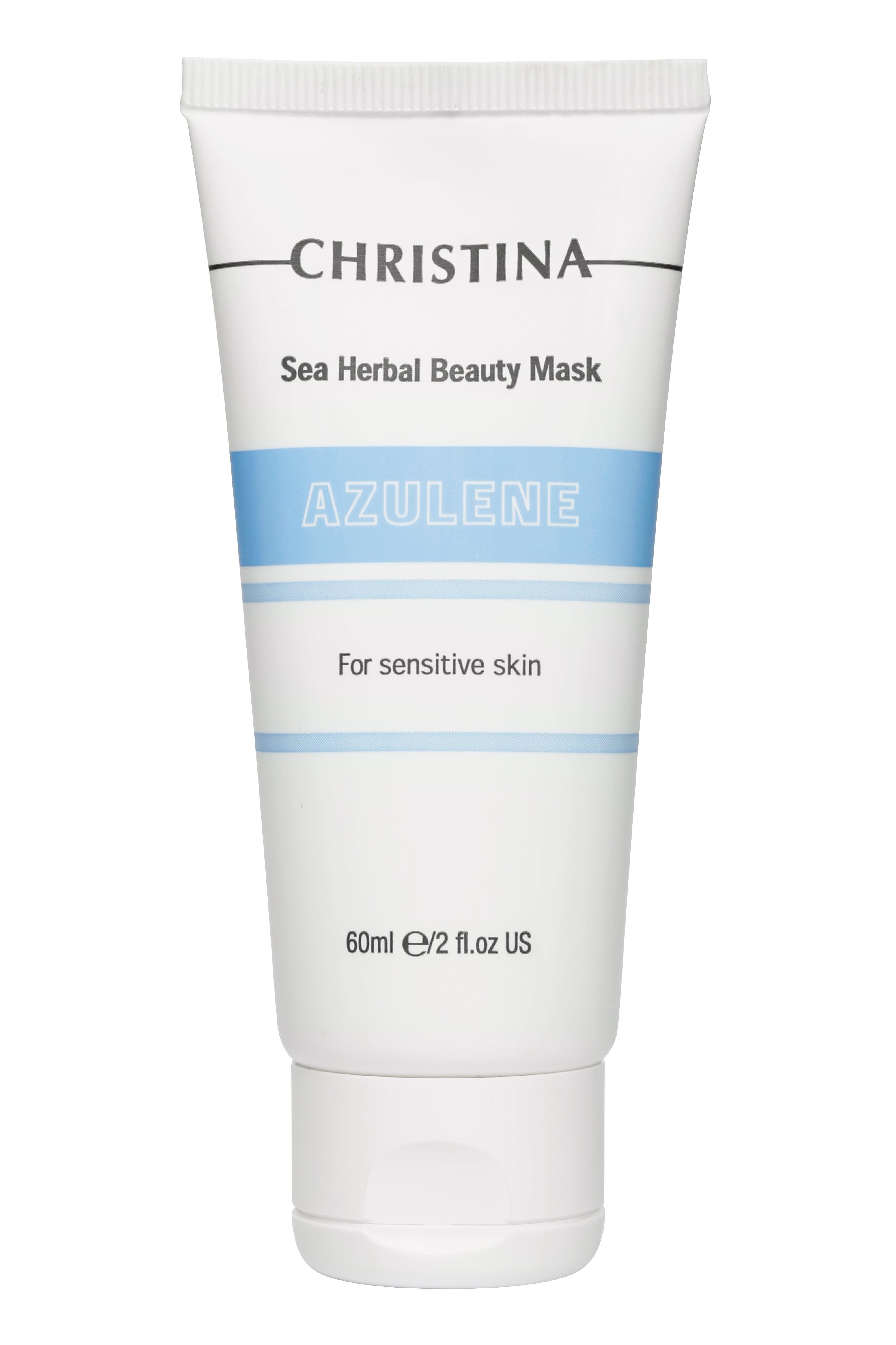 """Маска косметическая CHRISTINA Маска красоты для чувствительной кожи Азулен Sea Herbal Beauty Mask Azulene for sensitive skin, 80CHR060В состав маски красоты для чувствительной кожи""""Азулен"""" входят растительные компоненты, обладающие противовоспалительным и антиаллергическим действием. Снимает сухость, жжение и чувство стянутости, оставляя на коже ощущение мягкости и комфорта. Подходит для еженедельного ухода за раздраженной и чувствительной кожей."""