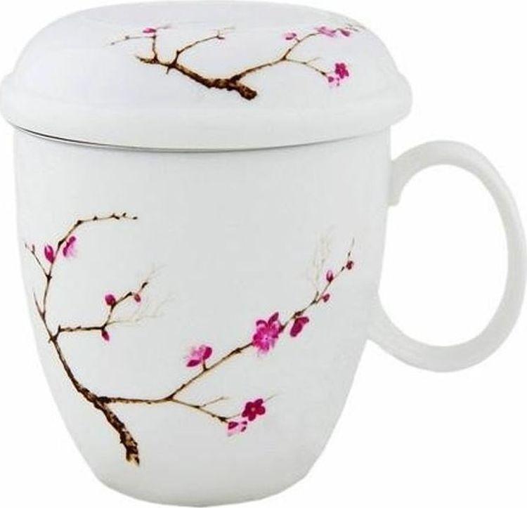 Кружка заварочная Gutenberg Цветущая сакура, 009904, разноцветный, 350 мл кружка заварочная olaff флора ваза с цветами с ситечком 124 01126 350 мл
