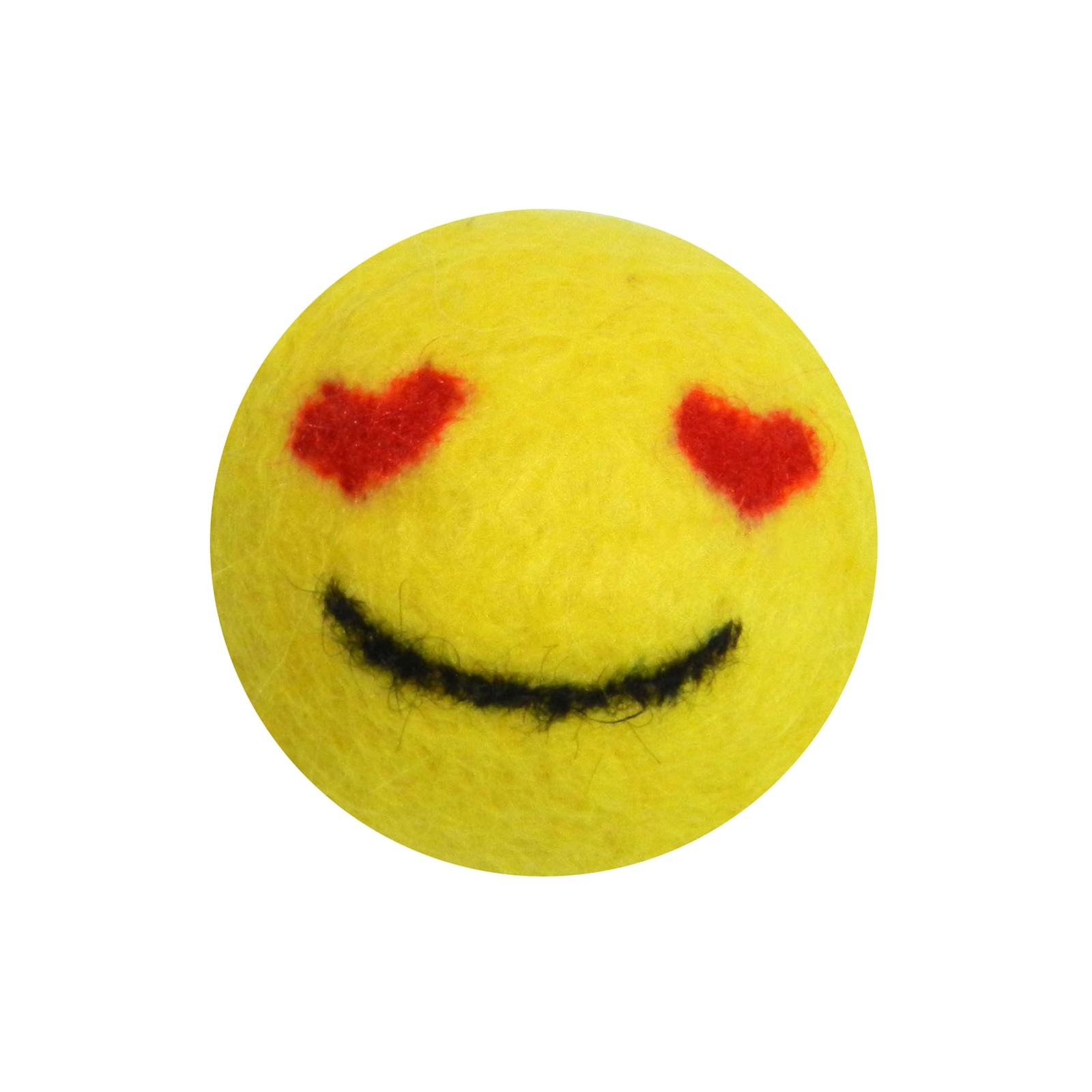 """Игрушка для животных LIVEZOO Мяч из шерсти """"Smile"""" Любовь 6 см, желтый"""