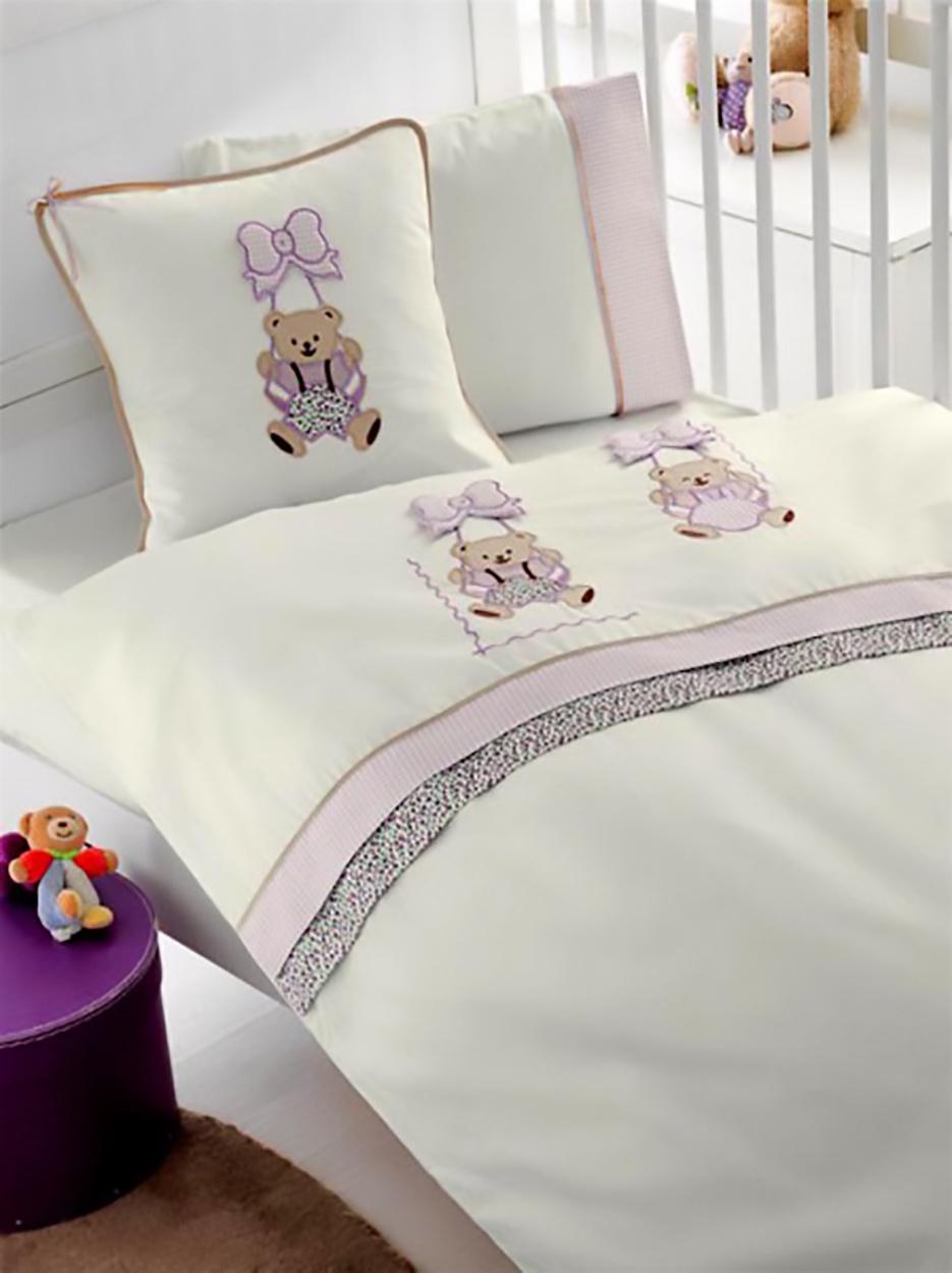 Комплект белья для новорожденных Gelin home BEBE, лиловый, бирюзовый, белый