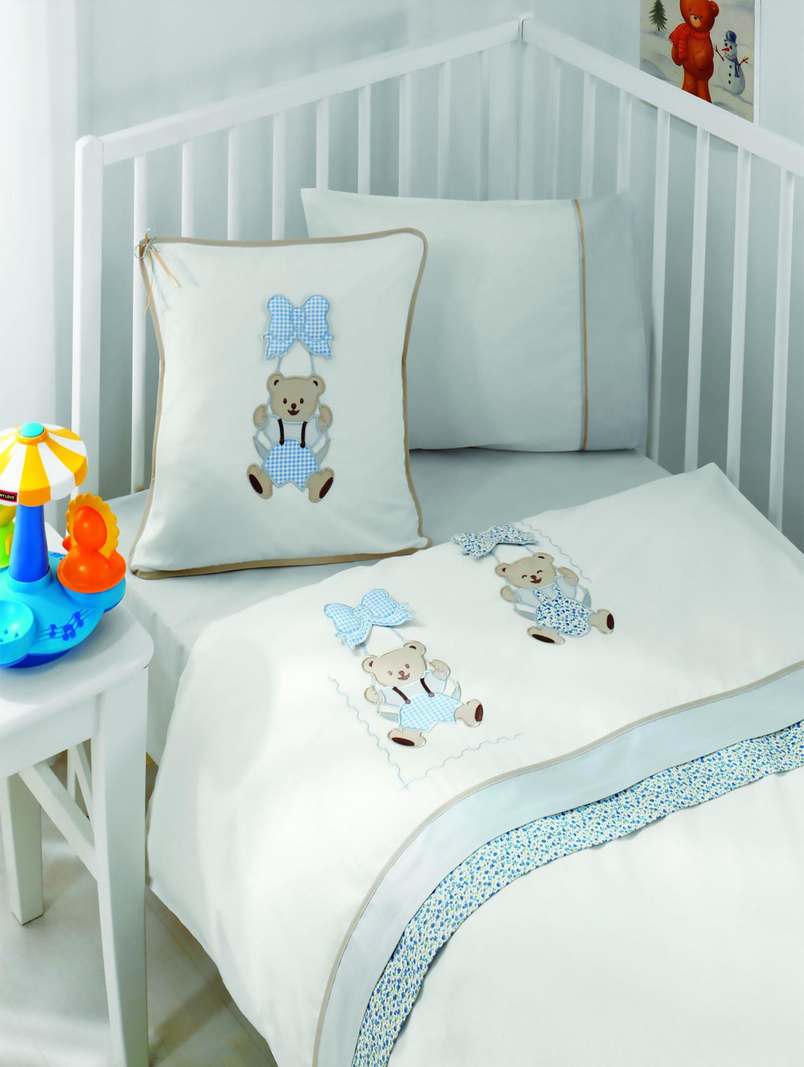 Комплект белья для новорожденных Gelin home BEBE, голубой, голубой, белый