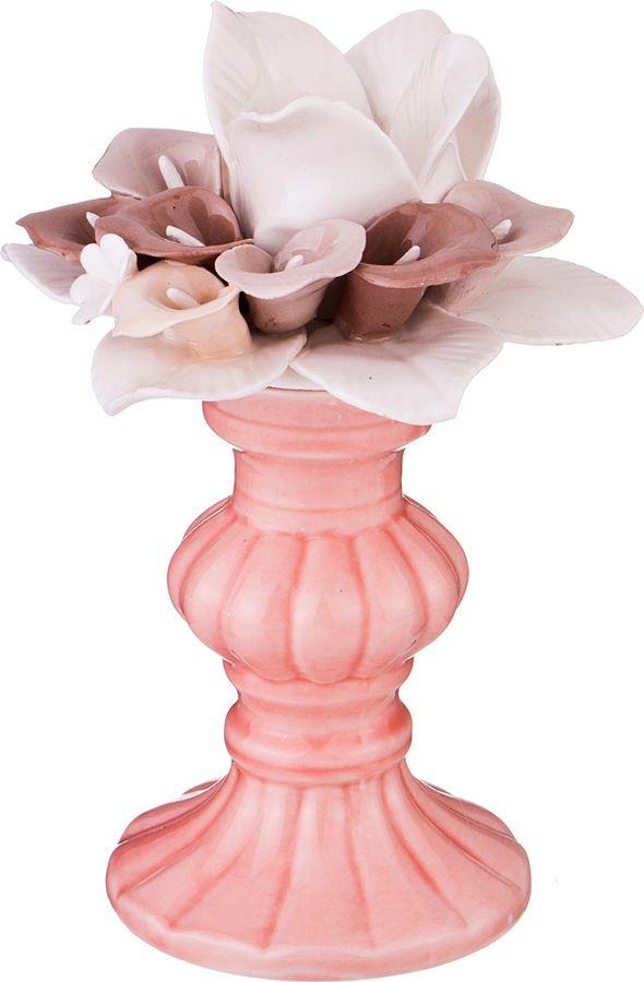 Подсвечник Lefard, 146-1012, розовый, 12,7 х 12 х 18,8 см круглый фарфоровый подсвечник цветущая ветка миндаля 15 см диам 970665