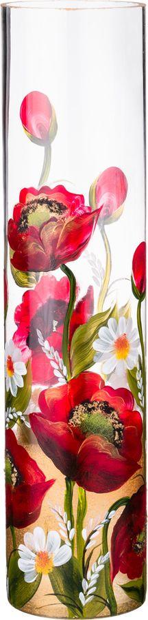 Ваза Lefard Красные Маки, 135-5192, прозрачный, высота 50 см