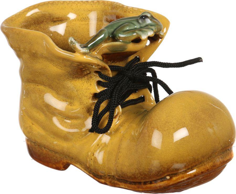 Кашпо Arti-M Ботинок с лягушкой, 180-066, желтый, 13 х 9 см цена