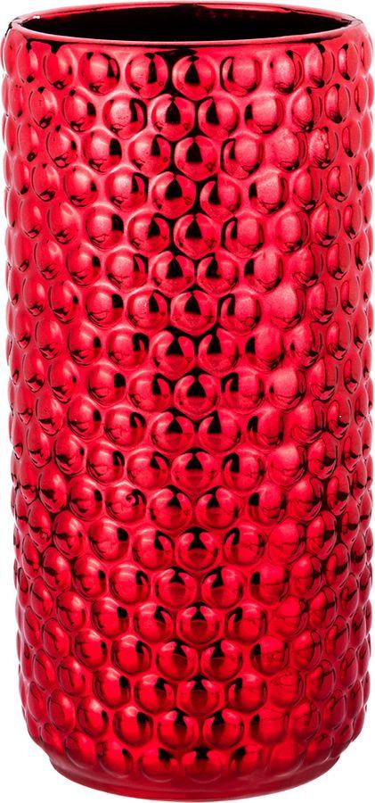 Ваза Lefard, 112-442, красный, 11,5 х 11,5 х 24,5 см ваза lefard 112 431 золотистый 21 х 12 х 34 5 см