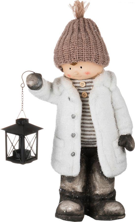 Фигурка декоративная Lefard Детишки в снегу, 248-031, белый, 26 х 16 х 43 см