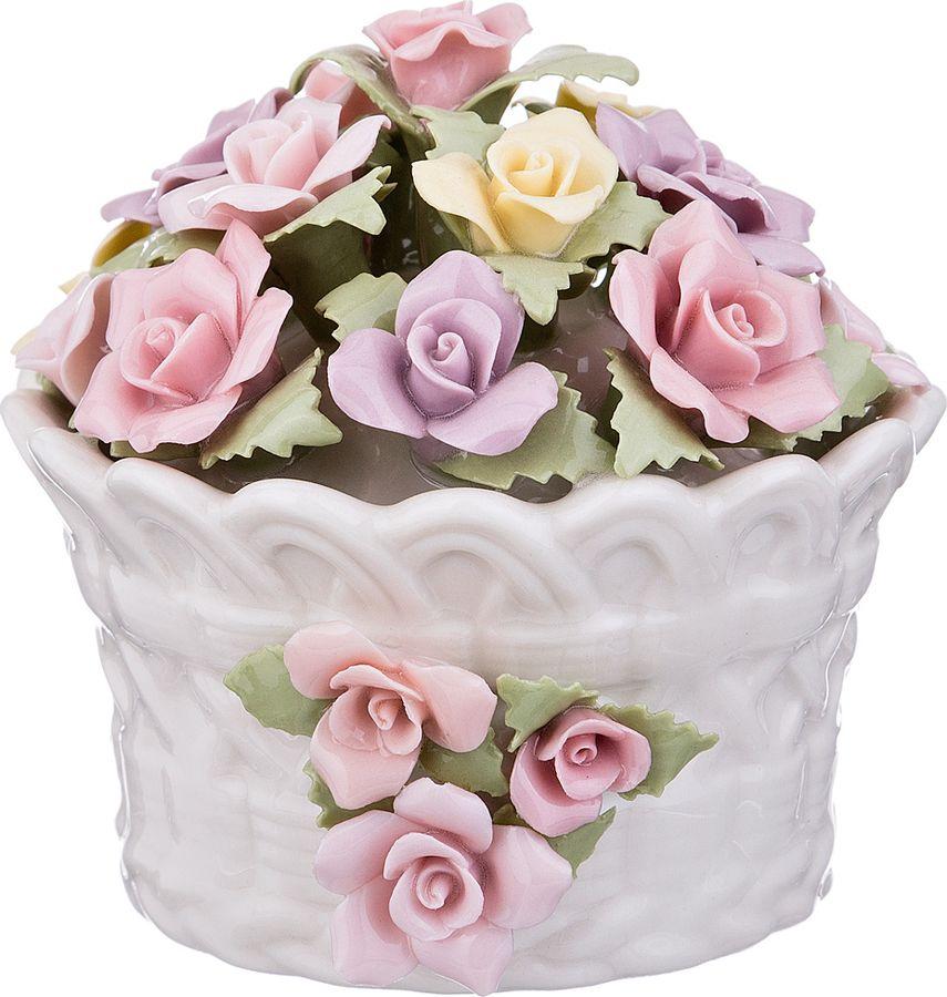Статуэтка Lefard Корзина с цветами, 461-225, белый, 8 х 8 х 7,5 см