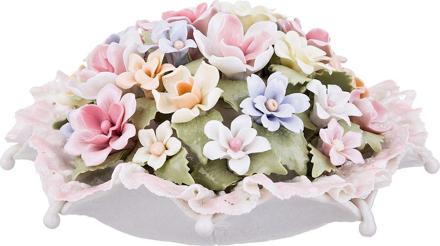 Статуэтка Lefard Корзина с цветами, 461-230, белый, 13 х 13 х 6,5 см