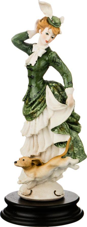 Статуэтка Lefard Дама с собачкой, 431-043, белый, зеленый, высота 25 см