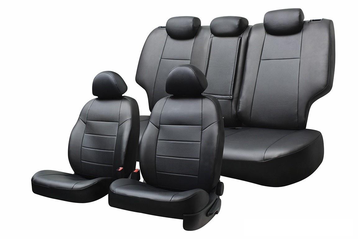 Чехол на сиденье Defly Volkswagen Polo, 2010-н.в., седан, сплош. зад. ряд, экокожа черная/ экокожа перф. черн. набор чехлов для дивана и кресел мартекс с карманами 3 предмета 05 0751 3