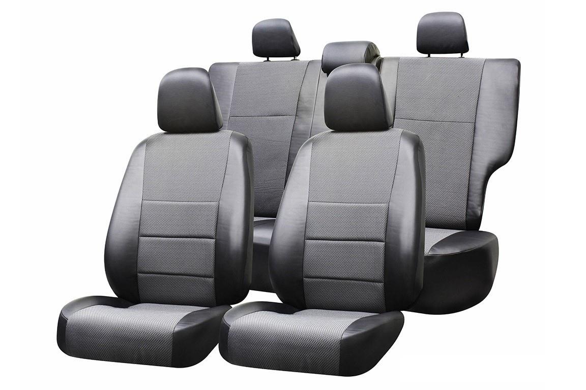 Чехол на сиденье Defly Renault Logan, 2014-н.в., компл: Accsess/ Confort, сплош. задний ряд, экокожа черная/жаккард темно-серый набор чехлов для дивана и кресел мартекс с карманами 3 предмета 05 0751 3