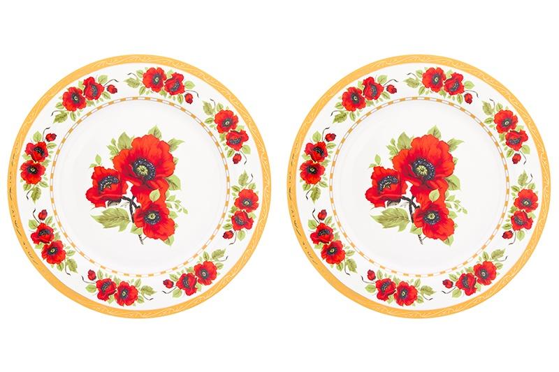 Тарелка Elan Gallery Маки, 730679, белый, красный все цены
