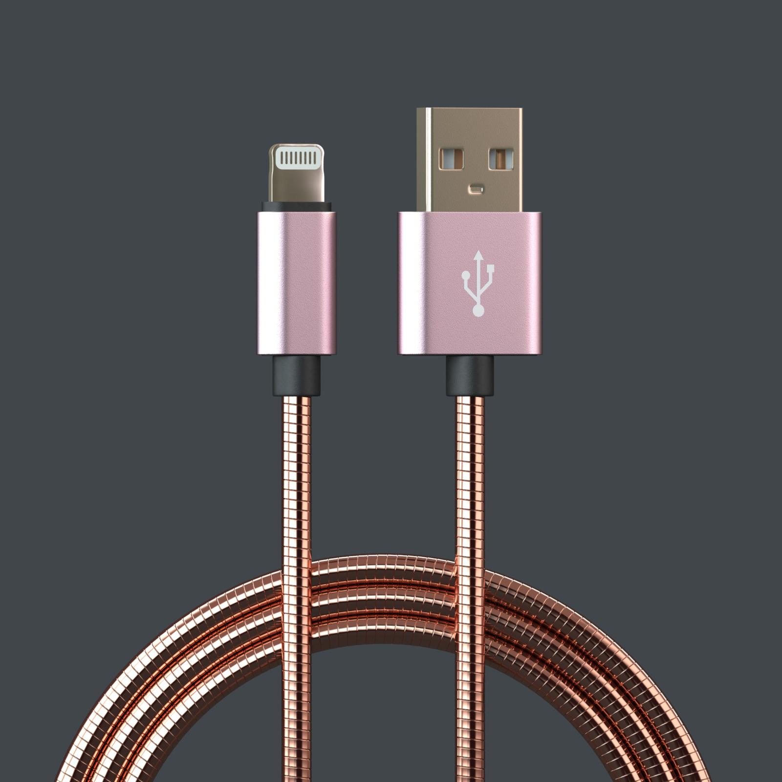 Кабель Qumann Lightning 2,4А, 20202, розовый, 1 м epik магнитный кабель и адаптер earldom для комфортного подключения и зарядки iphone 1m розовый rose gold