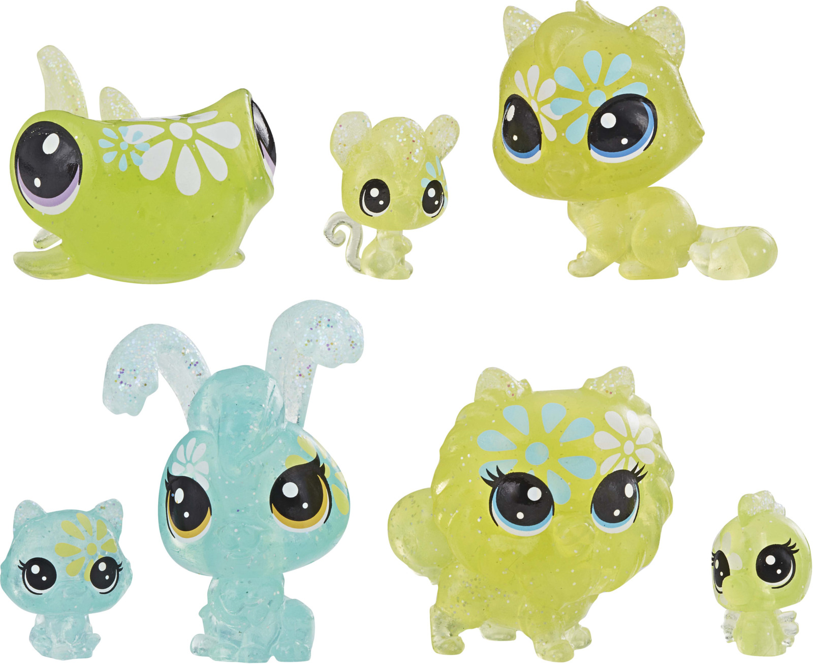 Игровой набор Littlest Pet Shop Core 7 Цветочных Петов, E5149EU4, цвет: зеленыйE5149EU4_E5165Забавные зверюшки с большими глазами и детально проработанным туловищем Littlest Pet Shop из мультсериала «Маленький зоомагазин» – серия игрушек с аксессуарами. Маленькие питомцы сразу становятся любимцами детей. В наборе 4 больших и 3 маленьких фигурки разноцветных питомцев с большими глазами и цветочными принтами на туловищах.