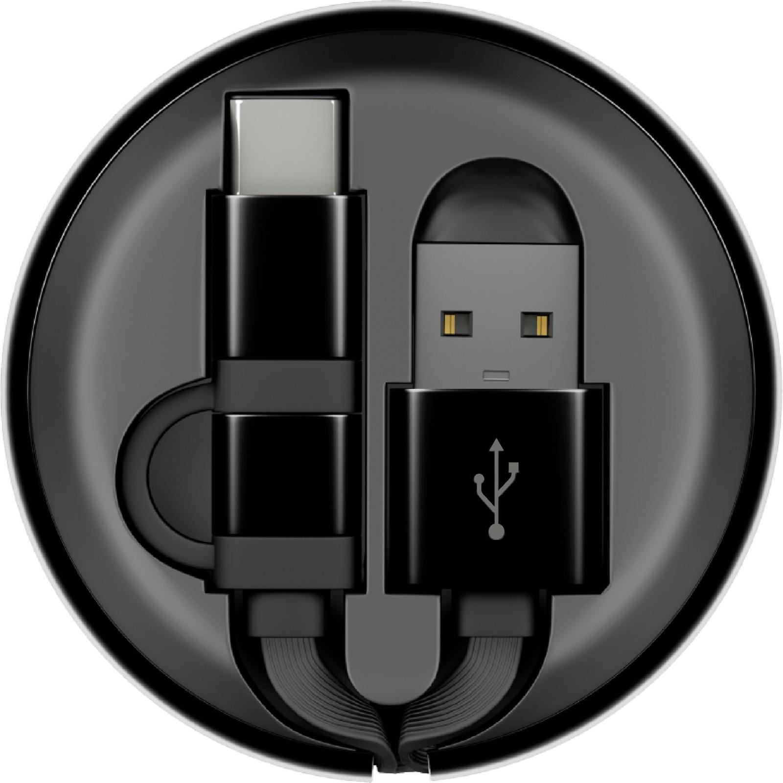 цена на Кабель-рулетка Interstep MicroUSB + TypeC USB 2.0, 65575, черный, 1 м
