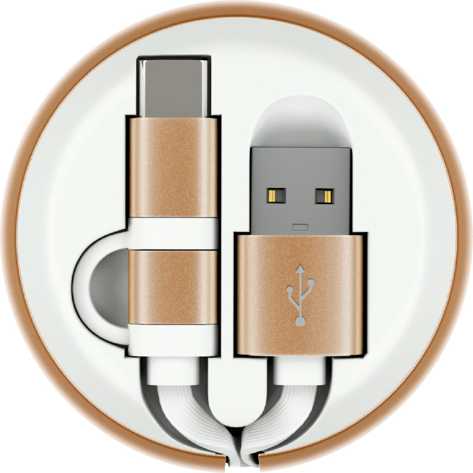 Кабель-рулетка Interstep MicroUSB + TypeC USB 2.0, 65581, белый, золотой, 1 м кабель partner usb 2 0 microusb apple 8pin 2 в 1 2 1 a 1 м