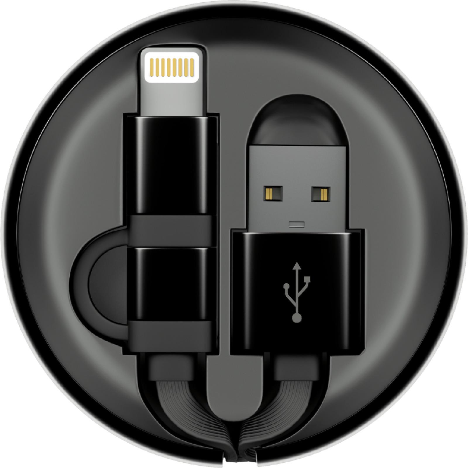 Кабель-рулетка Interstep Lightning + Micro USB 2.0, 65584, черный, 1 м переходник кабель interstep is dc crgnheasl 020b201 usb 2 0 lightning lightning мама 0 2 м для одновременной зарядки устройства и прослушивания музыки черный