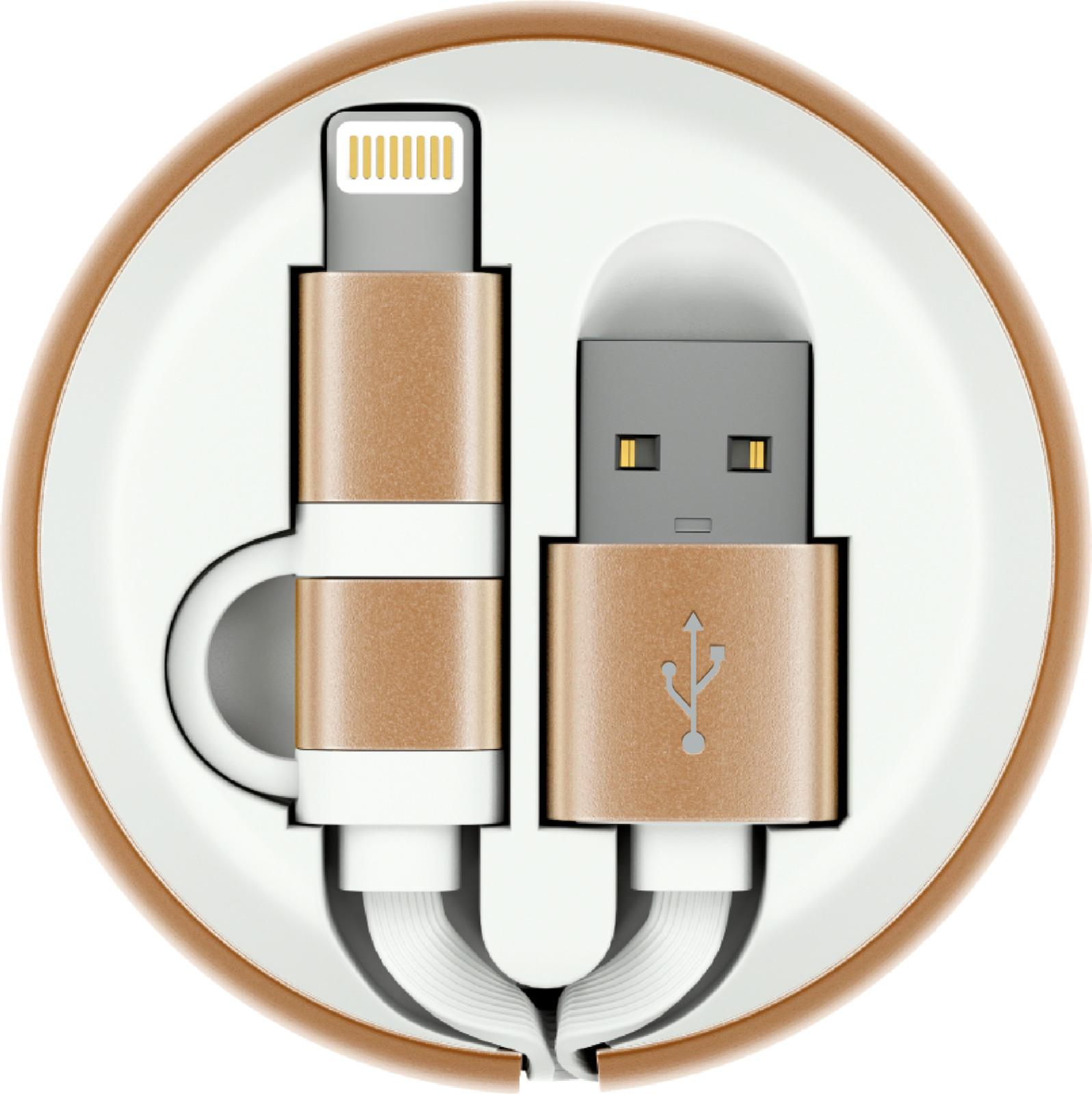 Кабель-рулетка Interstep Lightning + Micro USB 2.0, 65590, белый, золотой, 1 м переходник кабель interstep is dc crgnheasl 020b201 usb 2 0 lightning lightning мама 0 2 м для одновременной зарядки устройства и прослушивания музыки черный
