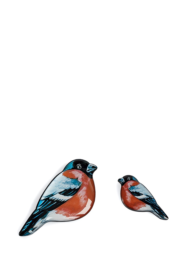 Брошь бижутерная НечегоНадеть Птицы, Ювелирная смола, 5 см, set-md-3, красный