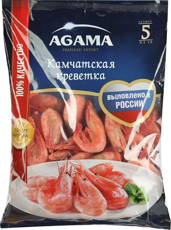 Камчатские креветки Agama, №5, неразделанные, варено-мороженые, 800 г