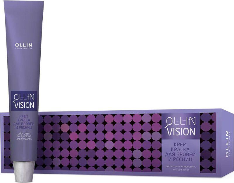 Ollin Крем-краска для бровей и ресниц (черный) 20 мл + салфетки под ресницы Vision Color Cream For Eyebrows And Eyelashes (Black) 15 пар vision набор для окрашивания бровей и ресниц коричневый краска окислитель салфетки под ресницы