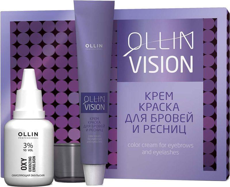 Ollin Крем-краска для бровей и ресниц (коричневый) Vision Set Color Cream For Eyebrows And Eyelashes (Brown) 20+20 мл (в наборе) vision набор для окрашивания бровей и ресниц коричневый краска окислитель салфетки под ресницы