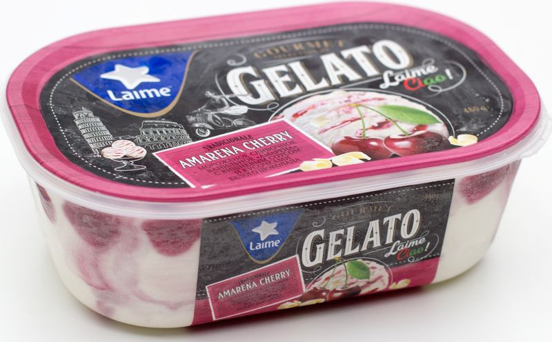 Мороженое Laime Амарена с вишневым соусом и кусочками белого шоколада, 480 гBE2522Сливочно-ванильное мороженое с вишневым соусом и кусочками белого шоколада