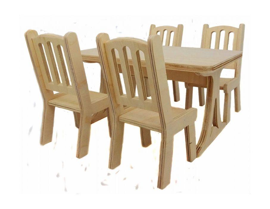 Мебель для кукол Альтаир Стол и 4 стула деревянные чехол для стула мебель трия хлоя м