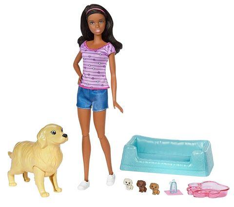 Кукла Mattel Барби брюнетка с новорожденными щенками