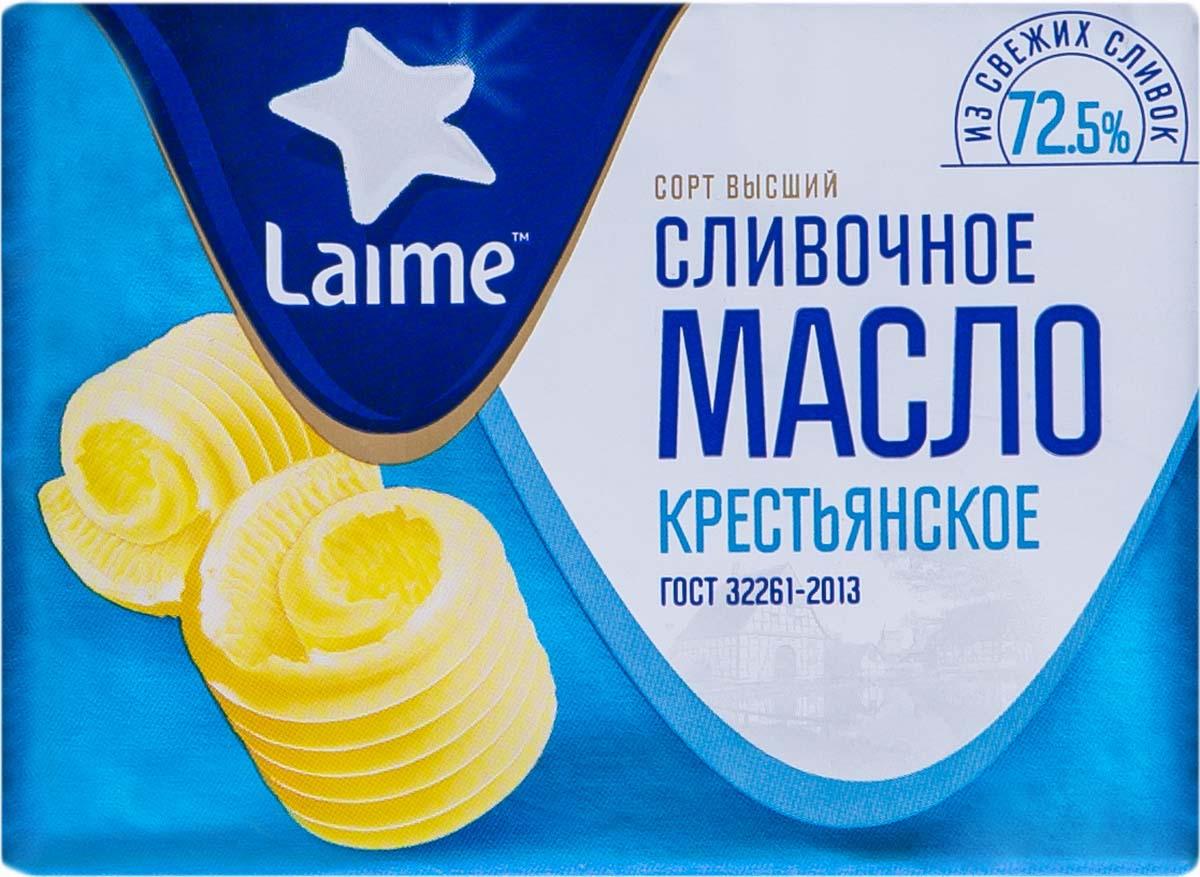 Сливочное масло Laime Крестьянское сладко-сливочное несоленое, 72,5%, 180 г