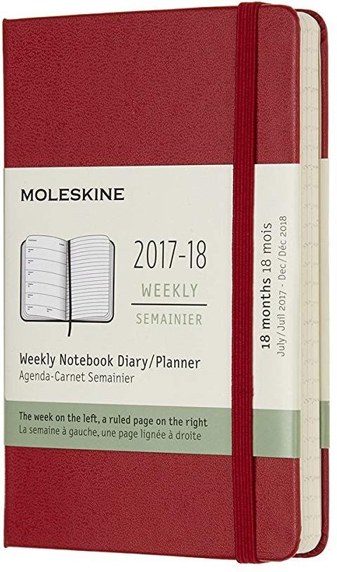 Еженедельник Moleskine ACADEMIC WKNT датированный, 208 листов, цвет: красный, 90x140 мм еженедельник moleskine classic wknt xl 190х250мм 144стр черный