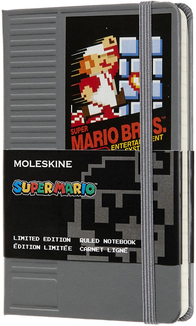 Блокнот Moleskine Limited Edition Super Mario, 192 листа, линейка, цвет: серый, 90x140 мм
