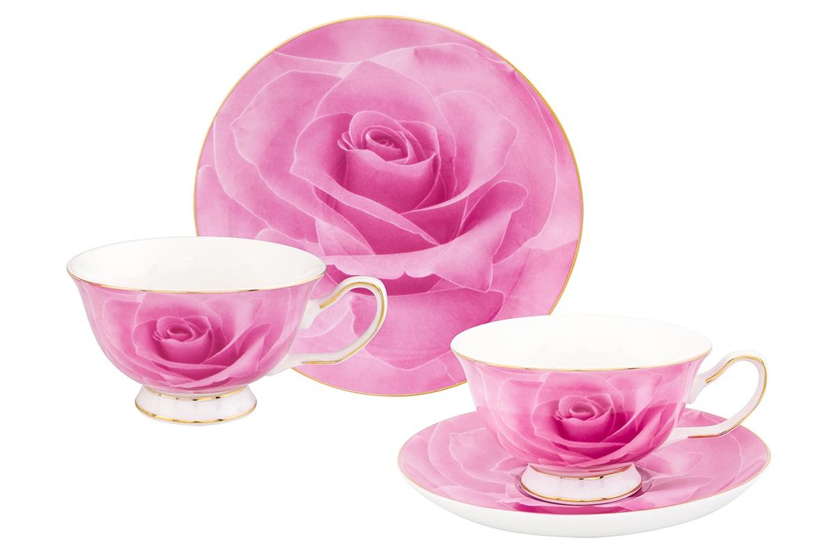 """Чайная пара Elan Gallery """"Розовая роза"""" чашка на ножке,2 предмета, 200 мл"""