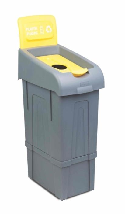 Мусорное ведро FANTOM PROFESSIONAL Ведро для раздельного сбора мусора (пластмассовых отходов), полипропилен, 34x55x105 см, желтый, серый