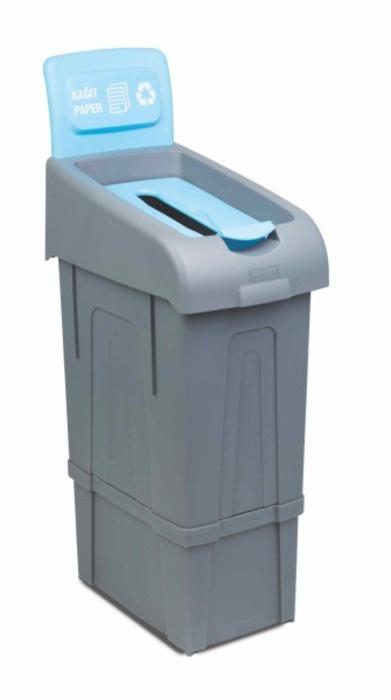 Мусорное ведро FANTOM PROFESSIONAL Ведро для раздельного сбора мусора (бумажных отходов), полипропилен, 34x55x105 см, голубой, серый