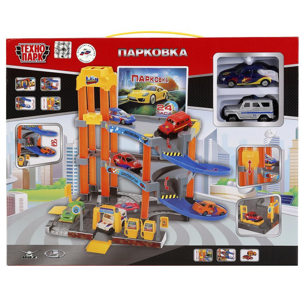 Игровой набор Технопарк 242284 оранжевый, красный, синий гаражи и игровые наборы технопарк игровой набор технопарк парковка спецслужб со спуском
