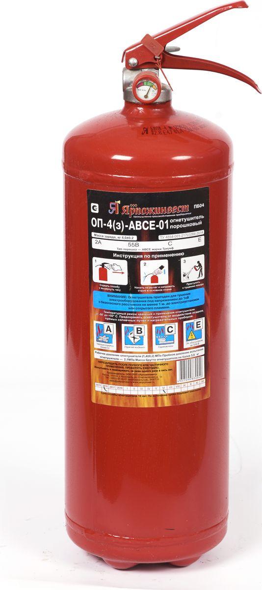 Огнетушитель порошковый Ярпожинвест ОП-4(з), 4 л огнетушитель порошковый оп 8 з авсе ярпожинвест