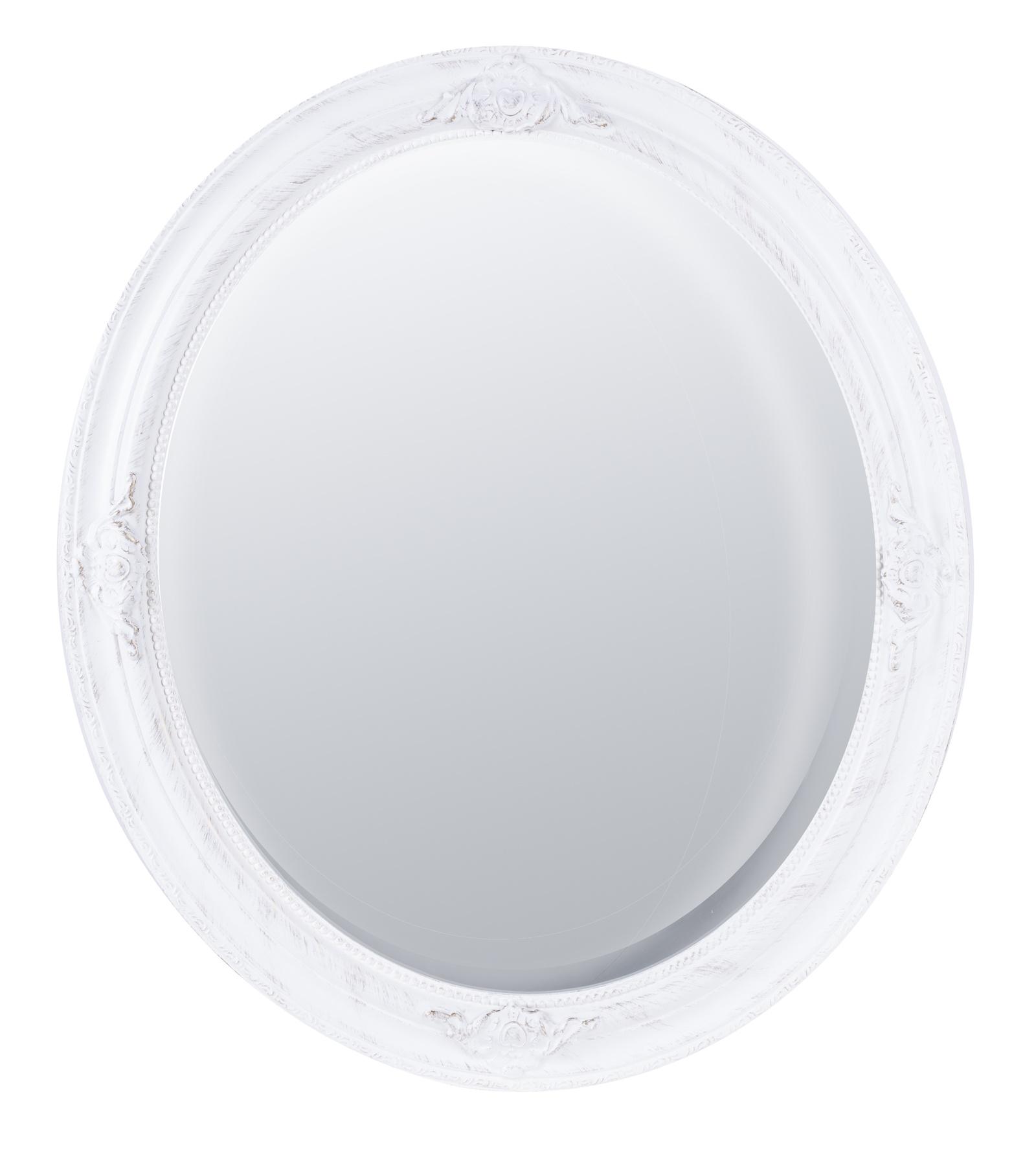 Зеркало настенное ANTIQUE Зеркало в деревянной раме с фацетом, 62x72х3,5см,White, белый