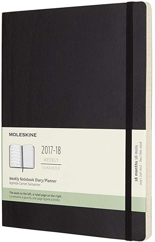 Еженедельник Moleskine, ACADEMIC SOFT WKNT XL, 190х250мм, датированный,18мес, 208стр., цвет: черный