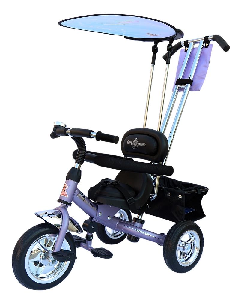 Велосипед Lexus Trike MS-0575, сиреневыйMS-0575лавандаВелосипед Lexus Trike Volt заряжает своей энергией, зовет в дорогу! - удобное мягкое сиденье, как на велосипеде Grand New Air регулируемое относительно руля в трех положениях в зависимости от роста ребенка; - хромированная облегченная рама, покрытая краской с блеском, которая очень красиво переливается на солнце; - удобные, противоскользящие складывающиеся подножки; - трехточечные ремни безопасности; - удобная и очень прочная родительская ручка управления, на нее можно опираться, она легко выдержит нагрузку взрослого человека; - легкий, складывающийся автономный (крепиться к спинке сиденья, а не к ручке управления) тент с фотопринтом защитит от дождя и солнца; - бампер-ограничитель для дополнительной безопасности малыша; - большие колеса из вспененного ПВХ; - диски цвета хром; - педали с рефлением; - звонок; - сумочка для мелочей; - багажная корзина.