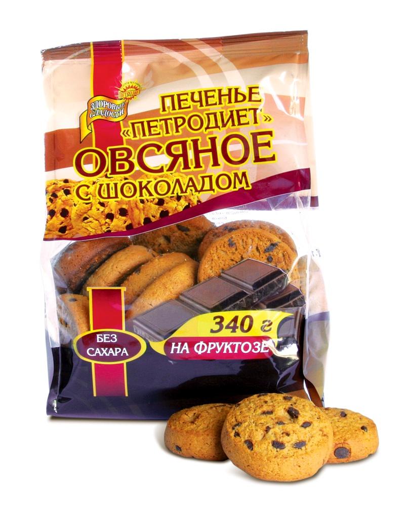 Печенье ПЕТРОДИЕТ Овсяное на фруктозе с шоколадом смесь для выпечки почти печенье матча шоколад кокос 370 г